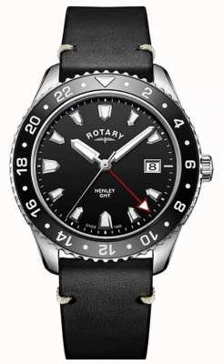 Rotary Mens Henley GMT Black Leather Strap Black Dial GS05108/04
