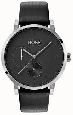 Hugo Boss Mens Oxygen All Black Watch Leather Strap Sunray Dial 1513594