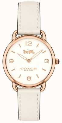Coach Womens Delancey Slim White Leather Strap Watch White Dial 14502790