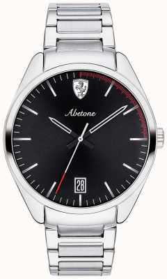 Scuderia Ferrari Mens Abetone Stainless Steel Bracelet Watch Black Dial 0830502