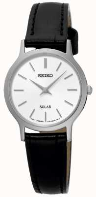 Seiko Womens Solar Black Leather Strap Watch SUP299P1