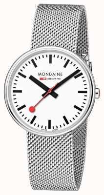 Mondaine Unisex Mini Giant Backlight White Dial Mesh Bracelet MSX.3511B.SM