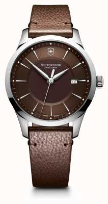 Victorinox Swiss Army Mens Alliance Brown Leather Strap Watch 40mm 241805