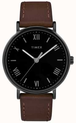 Timex Mens Southview 41mm Brown Leather Strap Black Dial TW2R80300D7PF