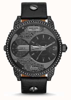 Diesel Mens Mini Daddy Black Leather Strap Watch DZ7328