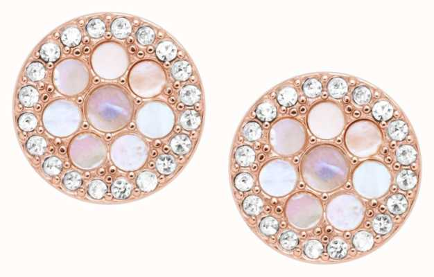 Fossil Rose Gold Tone Mother Of Pearl Ear Studs JF02906791