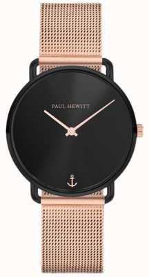 Paul Hewitt Unisex Miss Ocean Line 32mm Black Dial Rose Gold Mesh PH-M-B-BS-4S