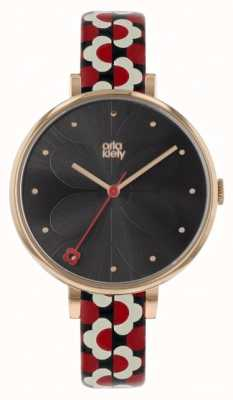 Orla Kiely Ivy Red & Black Printed Leather Strap OK2196