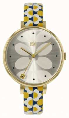 Orla Kiely Ivy Yellow & Navy Printed Leather Strap OK2194