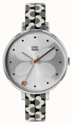 Orla Kiely Ivy Grey & Black Printed Leather Strap OK2195