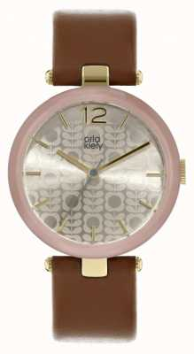 Orla Kiely Maxime Tan Leather Strap Patterned Dial OK2214