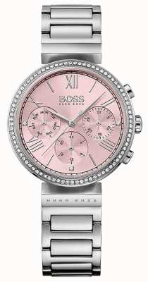 Boss Pink Dial Crystal Set Bezel Stainless Steel Bracelet 1502401