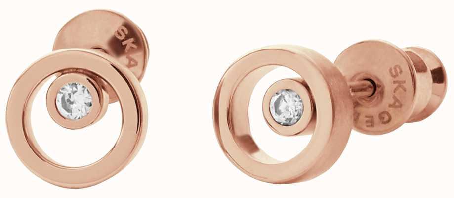 Skagen Womens Elin Stainless Steel Rose Gold Earrings SKJ0853791