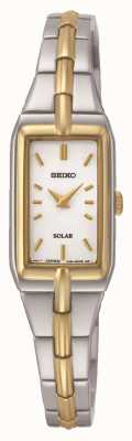 Seiko Women's Solar Rectangle Dial Two Tone Bracelet SUP272P9