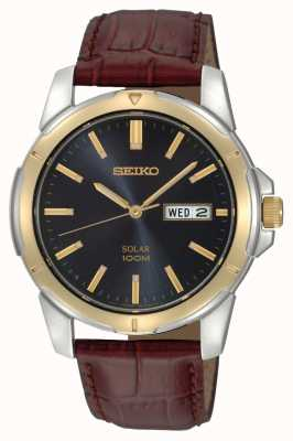Seiko Men's Solar Date Date Calendar Leather Strap SNE102P9