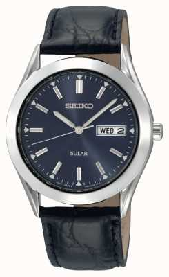 Seiko Mens Solar Stainless Steel Case Leather Strap SNE049P9