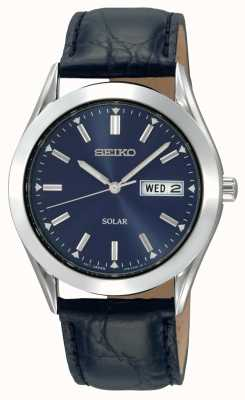 Seiko Mens Solar Stainless Steel Case Blue Dial Leather Strap SNE049P9