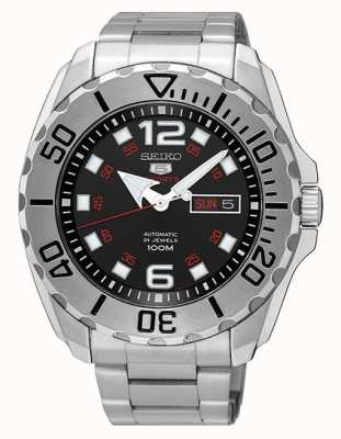 Seiko 5 Men's Sport Dat & Day Display Black Dial Stainless Steel SRPB33K1