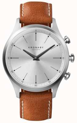 Kronaby 41mm SEKEL Silver Dial Brown Leather Strap A1000-3125 S3125/1