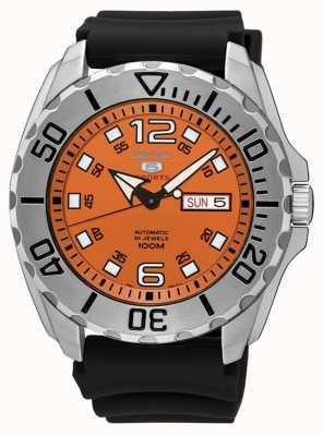 Seiko 5 Men's Sport Date & Day Display Orange Dial Black Rubber SRPB39K1