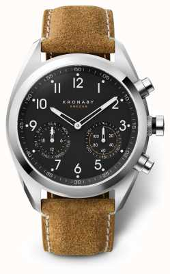 Kronaby 43mm APEX Black Dial Brown Suede Strap A1000-3112 S3112/1
