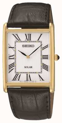 Seiko Men's Rectangle Dial Roman Numerals Gold Case SUP880P1