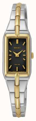 Seiko Women's Black Rectangular Dial Two Tone Stainless Steel SUP274P9