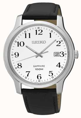 Seiko Men's Sapphire Crystal Date Display Stainless Steel Leather SGEH69P1