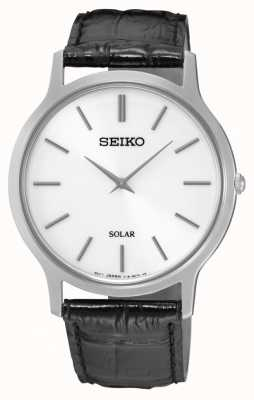 Seiko Solar White Dial Stainless Steel Case Black Leather Strap SUP873P1