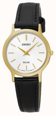 Seiko Solar White Dial Yellow Gold Stainless Steel Black Leather SUP300P1