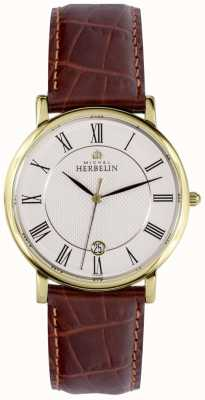 Michel Herbelin Classic Date Display Gold Stainless Steel Case Brown Leather 12248/P08MA
