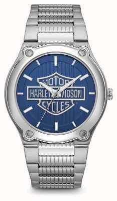 Harley Davidson Logo Print Blue Dial Stainless Steel Bracelet 76A159