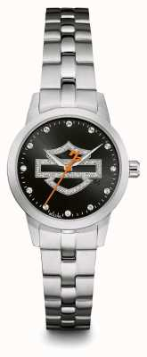 Harley Davidson Black Logo Crystal Set Dial Stainless Steel Bracelet EX-DISP 76L182EX-DISPLAY
