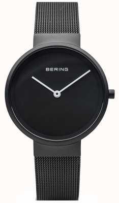 Bering Classic Black Matte Black IP Coated Mesh Bracelet 14531-122