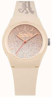 Superdry Women's Glitter Dial Cream Silicone Case & Strap SYL179C