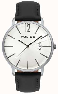 Police Men's Virtue Date Display White Dial Black Leather Strap 15307JS/01