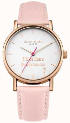 Daisy Dixon Pink Leather Strap Slogan Printed Dial Rose Gold Case DD079PRG