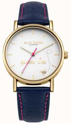 Daisy Dixon Blue Leather Strap Slogan Print Dial Blue Leather Strap DD079UG