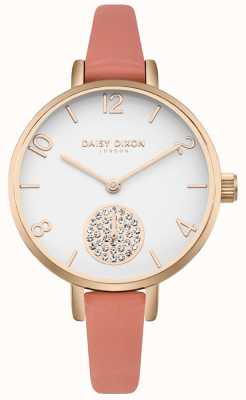 Daisy Dixon Women's Alice Crystal Set Subdial Pink Leather Strap DD075ORG