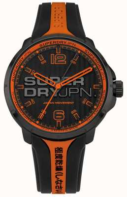 Superdry Men's Kyoto Orange And Black Silicone Strap SYG216BO