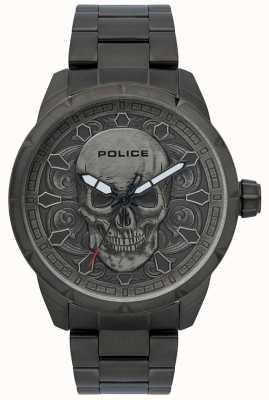 Police Men's Mystic Skull Print Black Dial Black IP Bracelet 15397JSU/57M