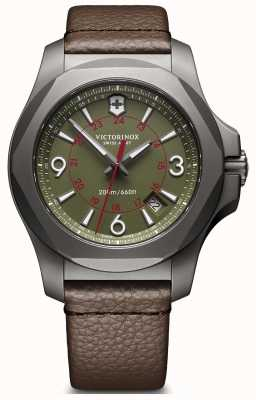Victorinox Swiss Army I.N.O.X Titanium Green Dial Date Displat Brown Leather Strap 241779
