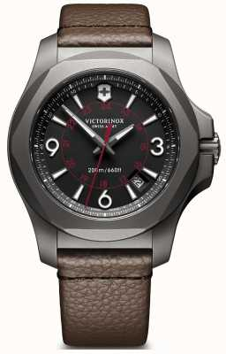 Victorinox Swiss Army I.N.O.X Titanium Black Dial Brown Leather Strap Date Display 241778