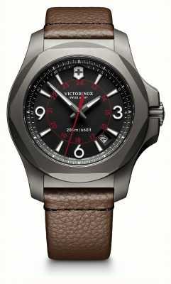 Victorinox Swiss Army I.N.O.X Titanium Black Dial Brown Leather Strap Date Display 241778