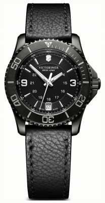 Victorinox Swiss Army Maverick Black Dial Black Leather Strap Date Display 241788