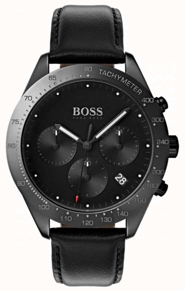 17f3948a7 Boss Talent Chronograph Black Dial Date Display Black Leather ...