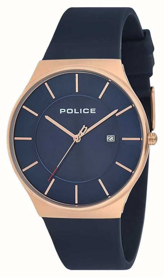 5329b7405e67 Police Mens New Horizon Watch Silicone Strap Blue 15045JBCR 03P ...