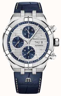 Maurice Lacroix Aikon Automatic Chronograph Blue Leather Strap Watch AI6038-SS001-131-1