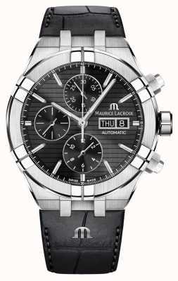 Maurice Lacroix Aikon Automatic Chronograph Black Leather Strap Watch AI6038-SS001-330-1