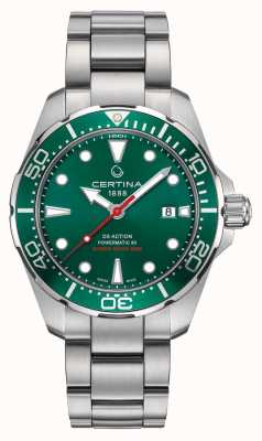 Certina Ds Action Powermatic Green Dial/bezel Stainless Steel Watch C0324071109100